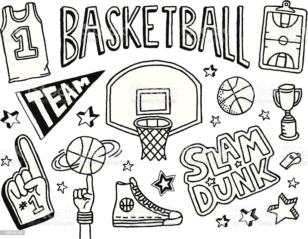 Basketball Doodles vector art illustration