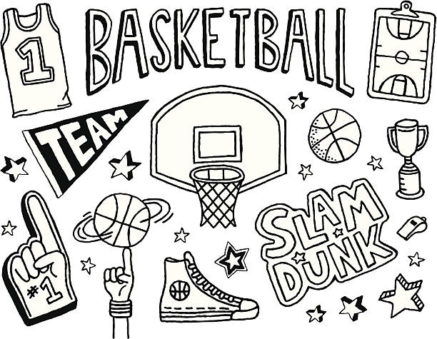 Basketball Doodles A basketball-themed doodle page. basketball hoop stock illustrations