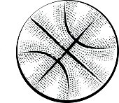 Basketball drawing in retro style. Doodle sport icon on white background.