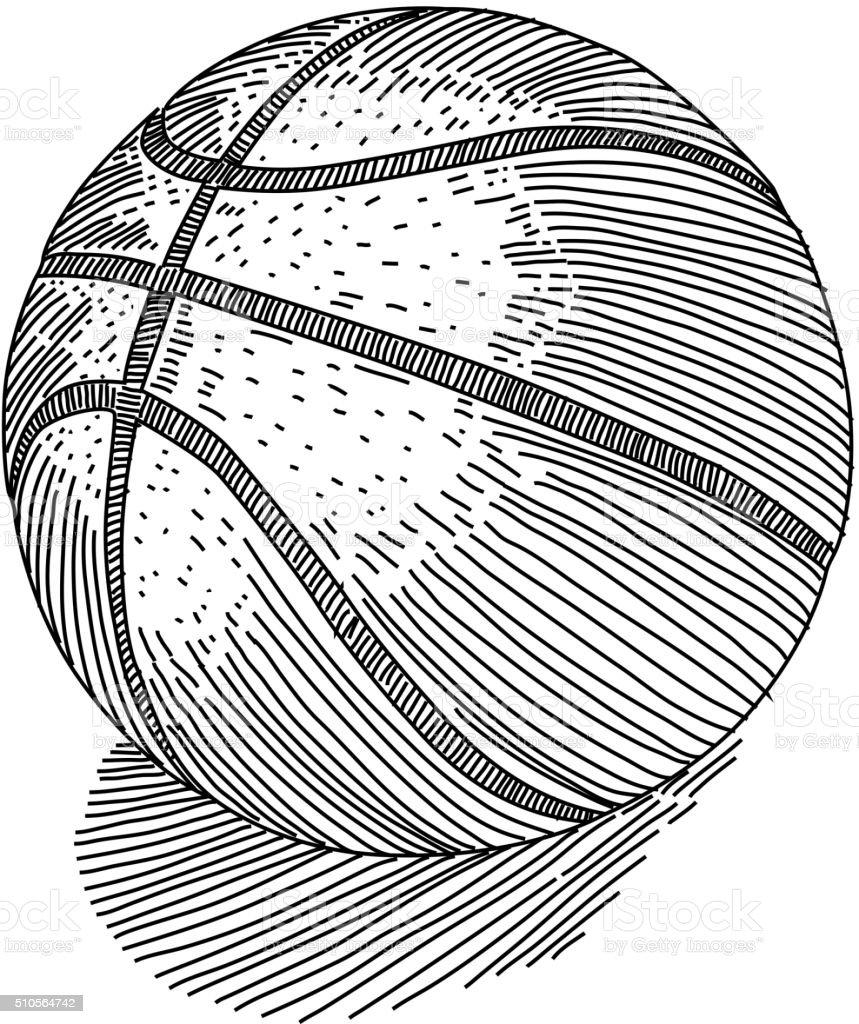 basketball drawing stock illustration