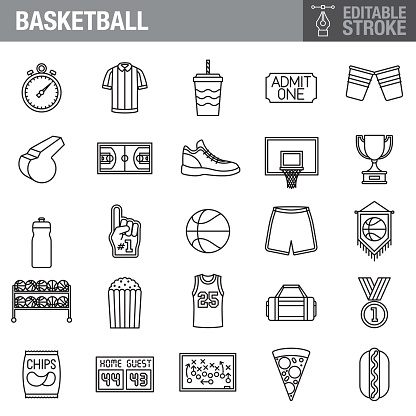 Basketball Editable Stroke Icon Set