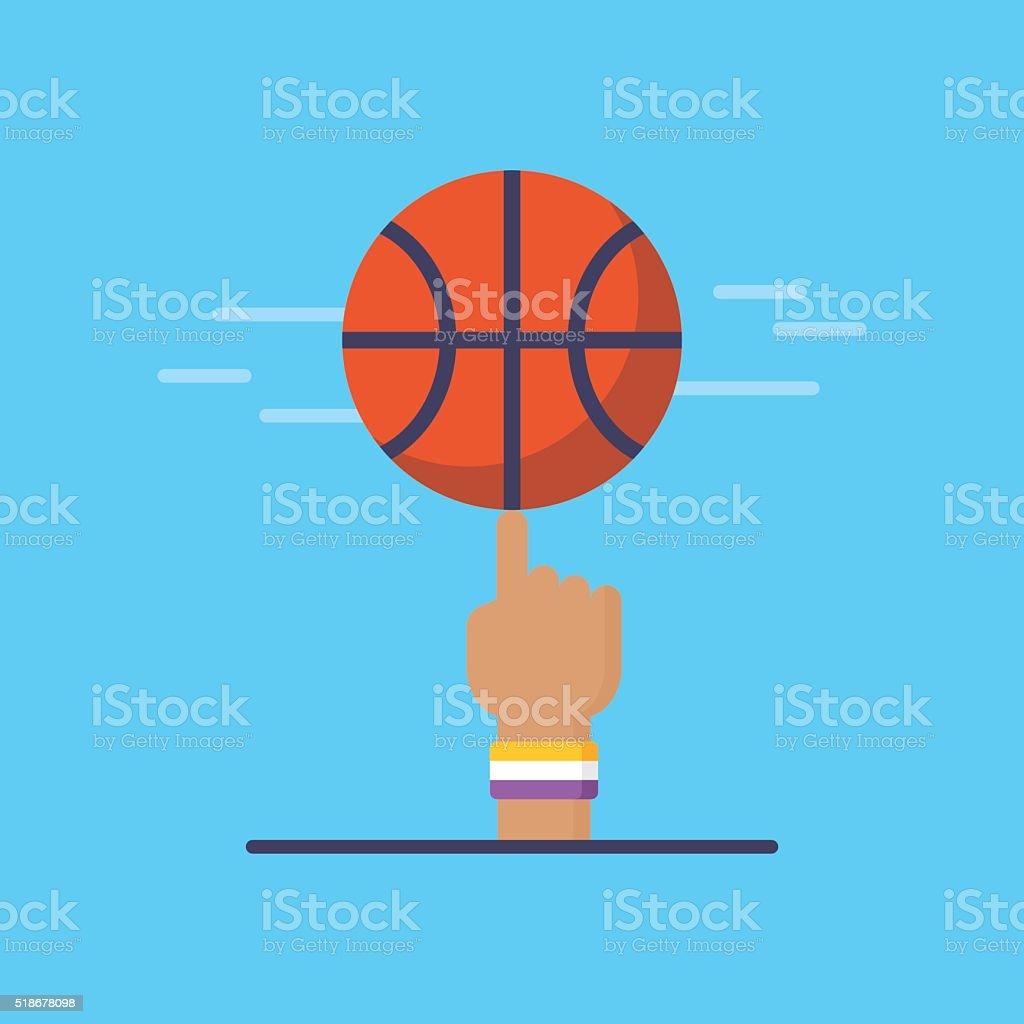 バスケットボールエンブレムとデザイン。バスケットボールのフラットな近代的なアイコンをクリックします。 ベクターアートイラスト