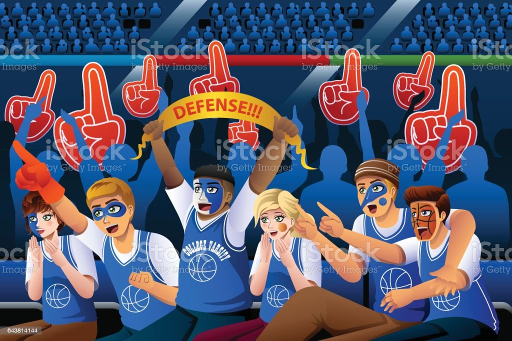 Basketball Fans Cheering Inside Stadium vector art illustration
