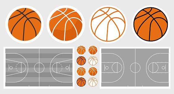 Basketball field and ball set. Basketball stickers
