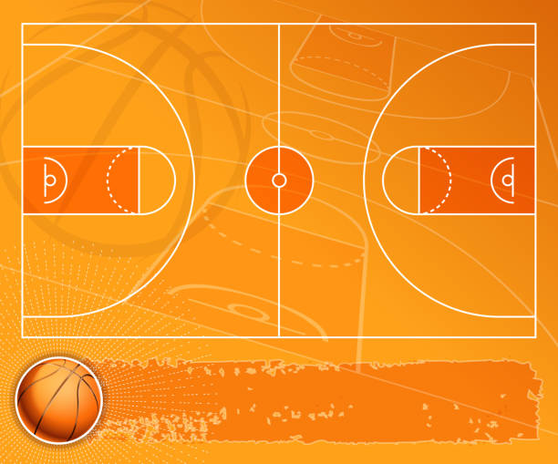 basketball field banner vector art illustration