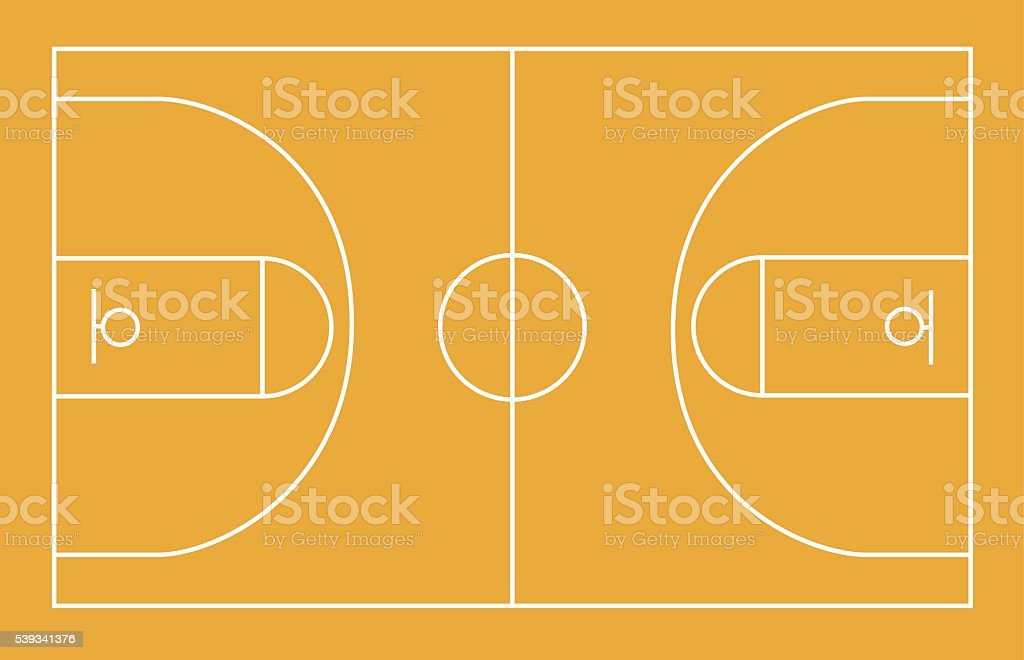 Basketball field, court, yard, FIBA, infographics, horisontal vector art illustration