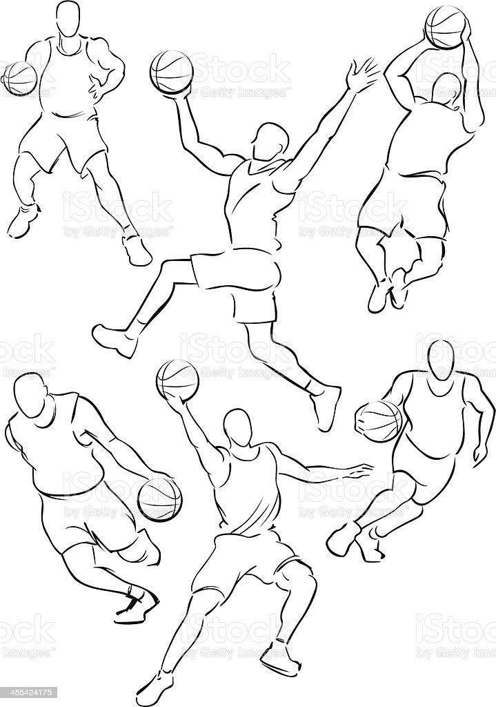 Basketball figures 1 vector art illustration