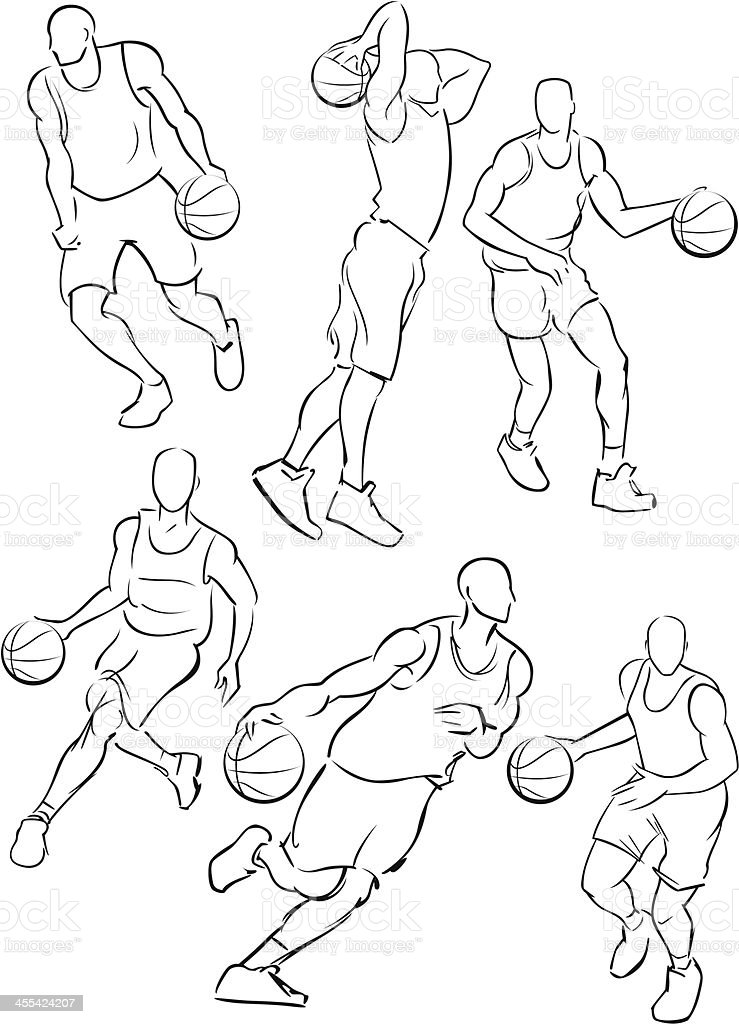 Basketball figures 2 vector art illustration