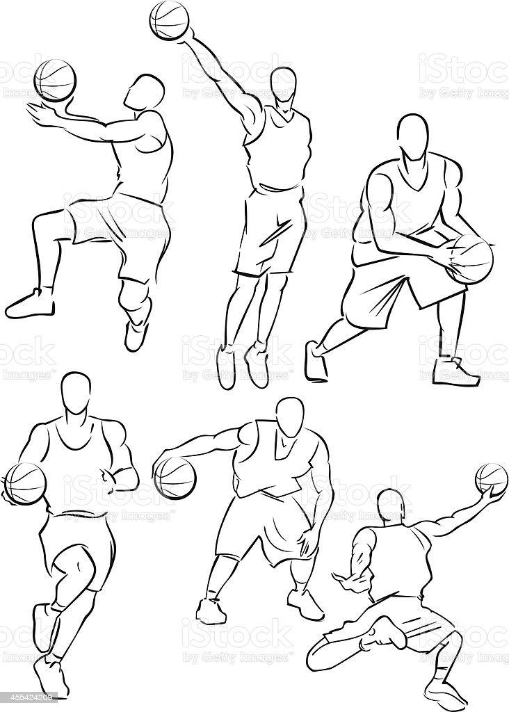 Basketball figures 3 vector art illustration