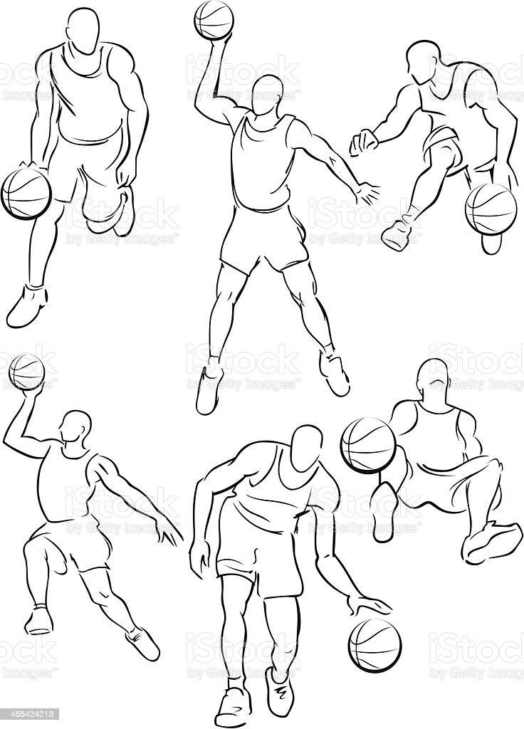 Basketball figures 4 vector art illustration