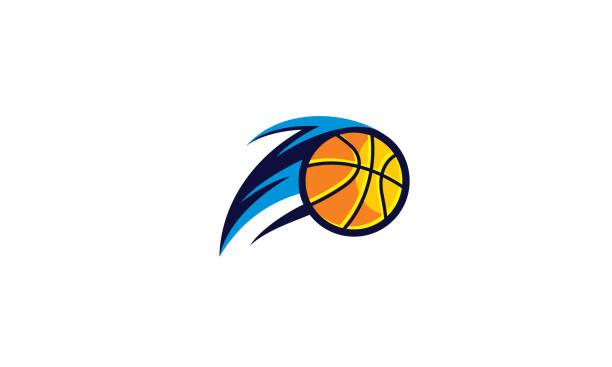ilustrações, clipart, desenhos animados e ícones de ícone do basquete fogo logo vector - basquete