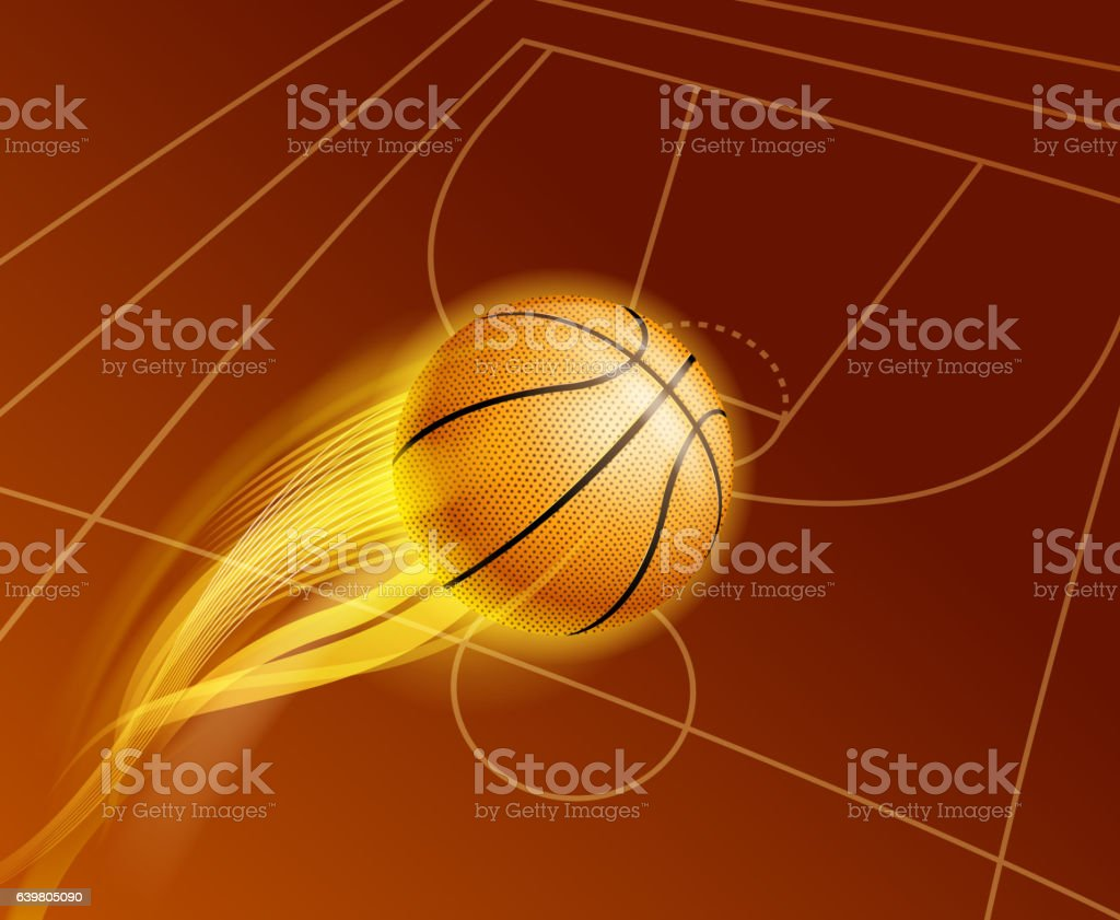 basketball fire vector art illustration