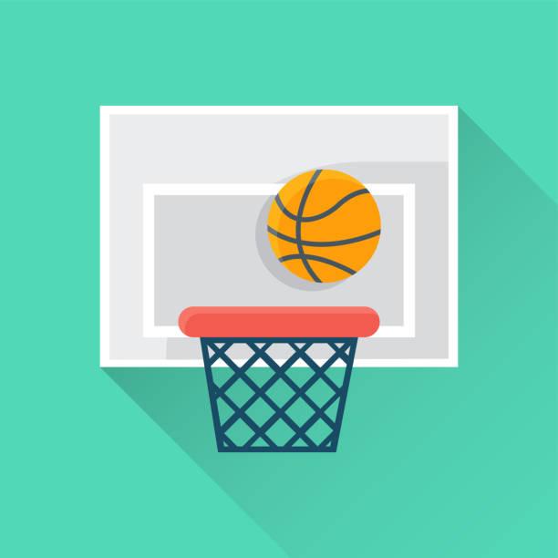 ilustraciones, imágenes clip art, dibujos animados e iconos de stock de icono plano de baloncesto - basketball hoop
