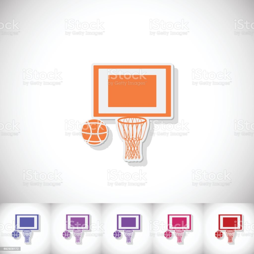 Basketball. Flat sticker with shadow on white background vector art illustration