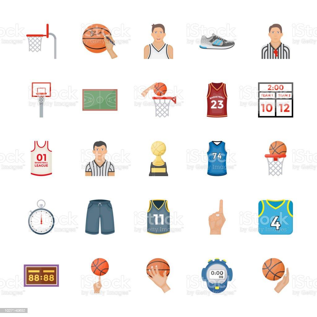 Basketball Flat Vector Icons vector art illustration