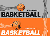 Basketball flyer or web banner design with ball icon. Vector illustration