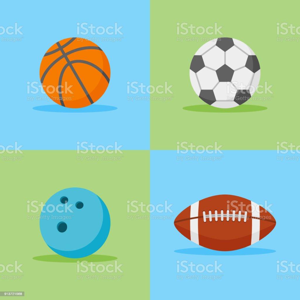 バスケット ボール、サッカー、サッカー、ボウリングのボールはフラット アイコンです。ベクトルの図。 ベクターアートイラスト