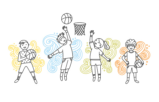 Basketball game cute vector set with children. Boys and girls with sport balls and decorative elements