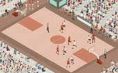 A detailed basketball game is shown in this illustration, and is focused on a player dribbling a basketball down the court surrounded by teammates and opponents. People in the scene include referees, coaches, players, photographers, cheerleaders, and dozens of spectators. The vector scene is presented in isometric view. Note: no specific players, teams, leagues, equipment, court configurations, or other entities under prior copyright protection have been included in the creation of this image.