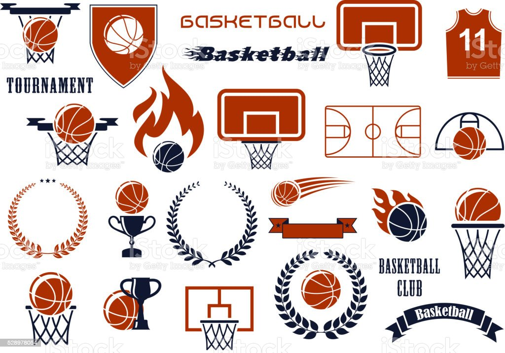Basketball game items for sport club, team design vector art illustration