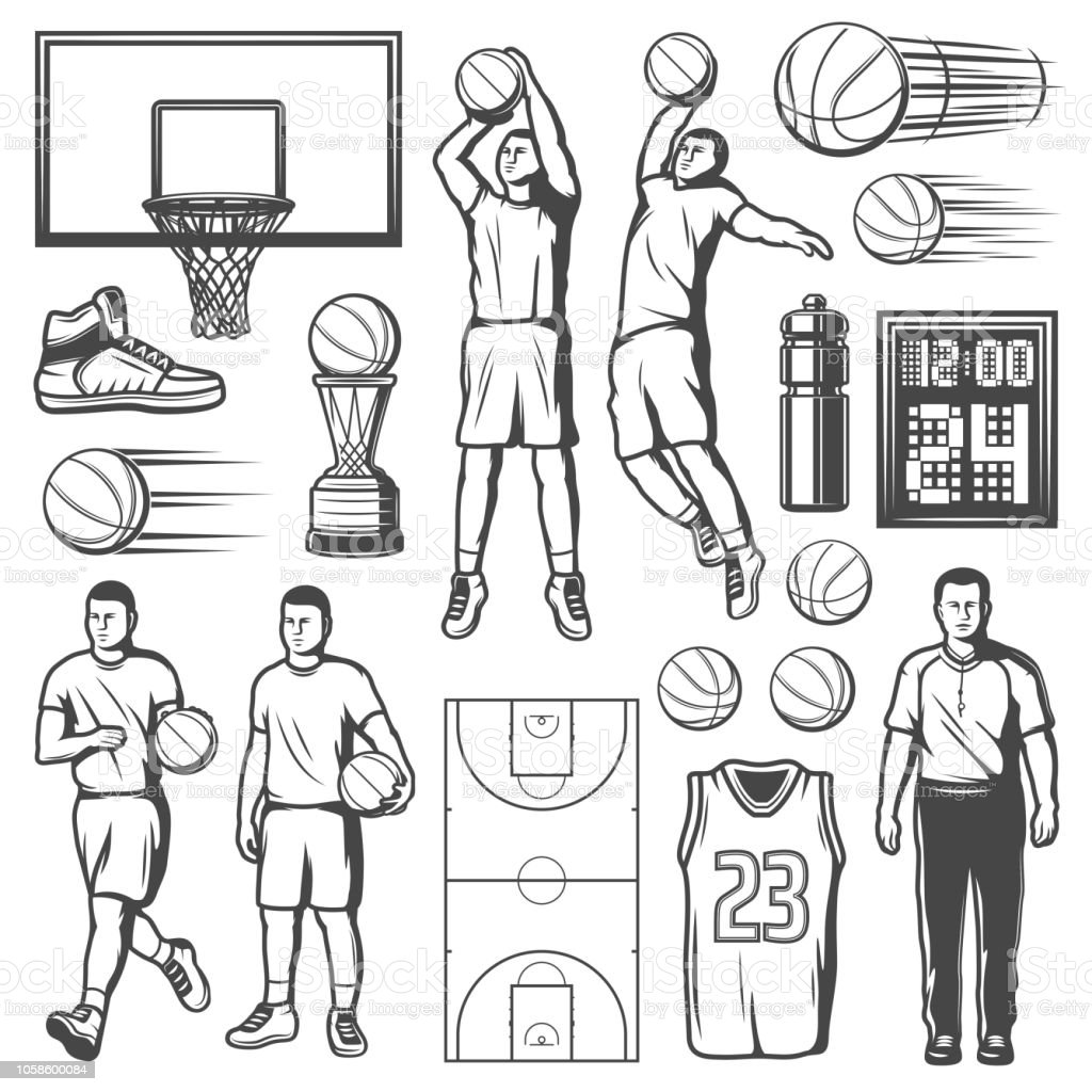 Basketball game players and equipment, vector vector art illustration