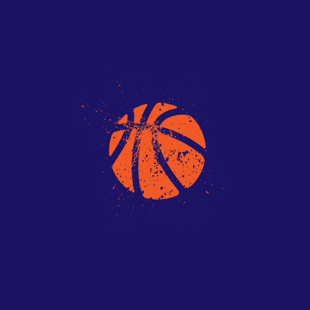 Basketball grunge silhouette Grunge orange basketball silhouette isolated onn dark blue background basketball stock illustrations