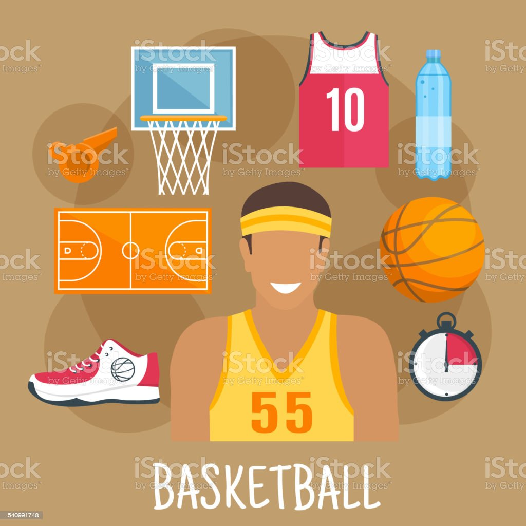 Basketball game symbol for ball sports theme design with guard player...
