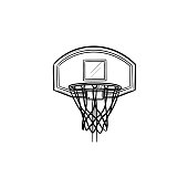 Basketball hoop and net hand drawn outline doodle icon