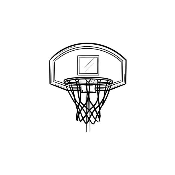 Basketball hoop and net hand drawn outline doodle icon Basketball hoop and net hand drawn outline doodle icon. Basketball equipment, game goal, competition concept. Vector sketch illustration for print, web, mobile and infographics on white background. basketball hoop stock illustrations