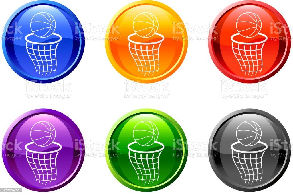 basketball hoop button royalty free vector art vector art illustration