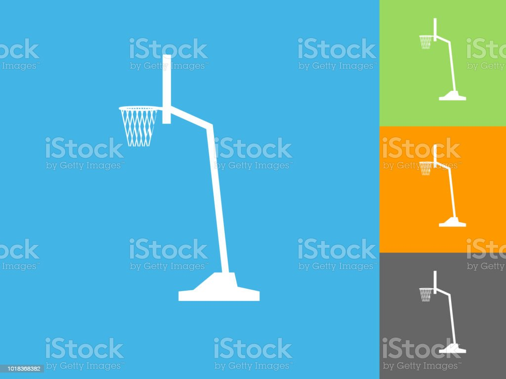 Basketball Hoop Flat Icon On Blue Background Stock Vector Art More Diagram Royalty Free