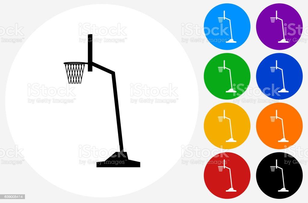 Basketball Hoop Icon on Flat Color Circle Buttons – Vektorgrafik