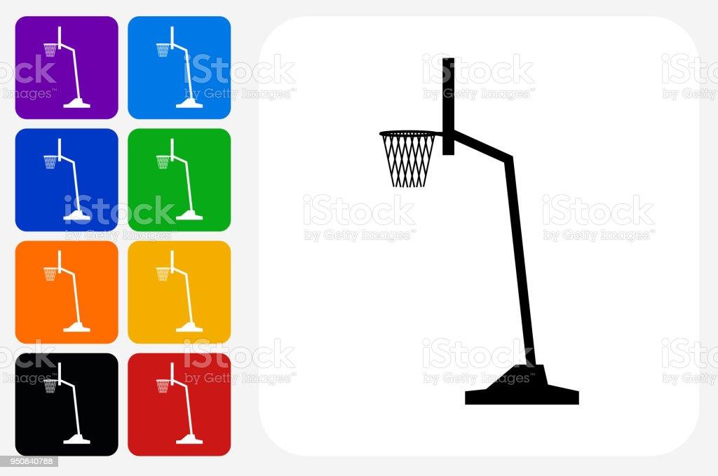 Basketball Hoop Icon Square Button Set vector art illustration