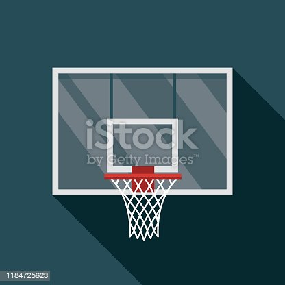 A flat design basketball icon with a long shadow. File is built in the CMYK color space for optimal printing. Color swatches are global so it's easy to change colors across the document.