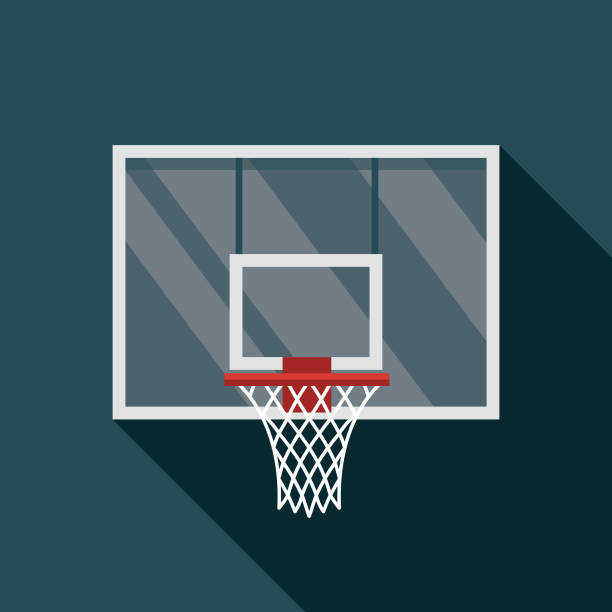 Basketball Hoop Icon A flat design basketball icon with a long shadow. File is built in the CMYK color space for optimal printing. Color swatches are global so it's easy to change colors across the document. basketball hoop stock illustrations