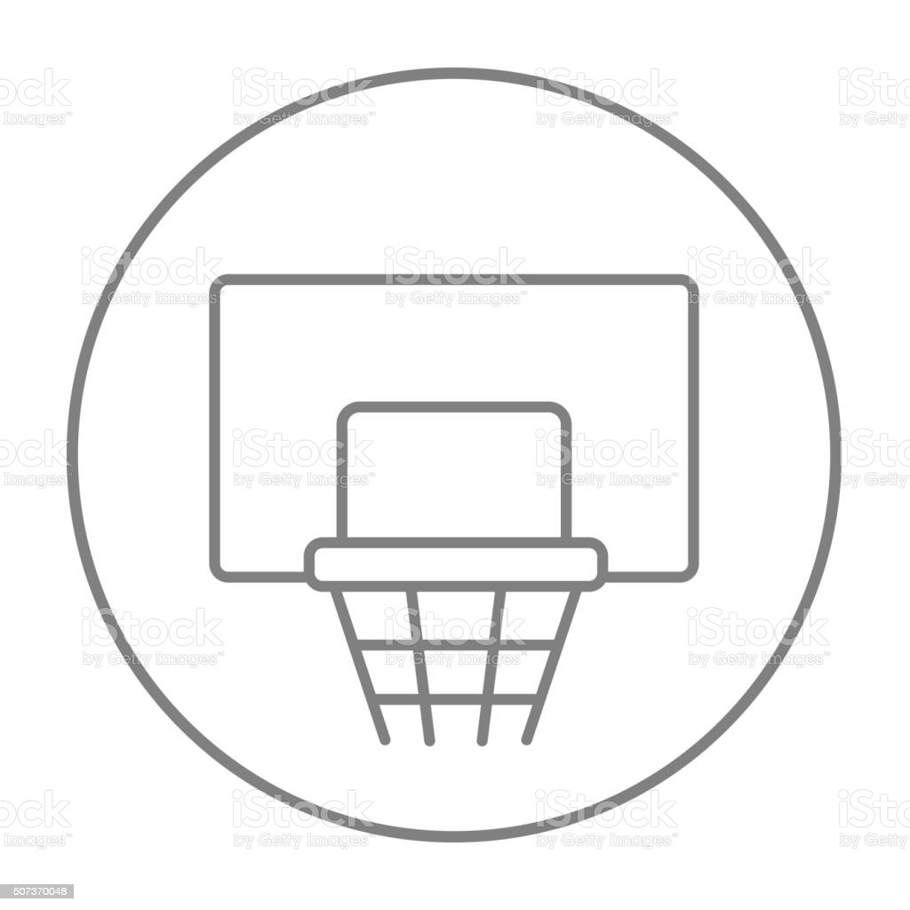 Basketball Hoop Line Icon Stock Vector Art More Images Of Computer Diagram Royalty Free Amp