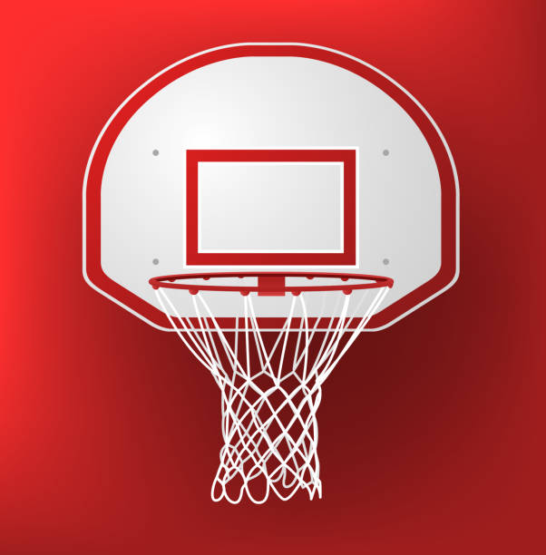Basketball hoop on a red background Basketball Hoop vector illustration. basketball hoop stock illustrations