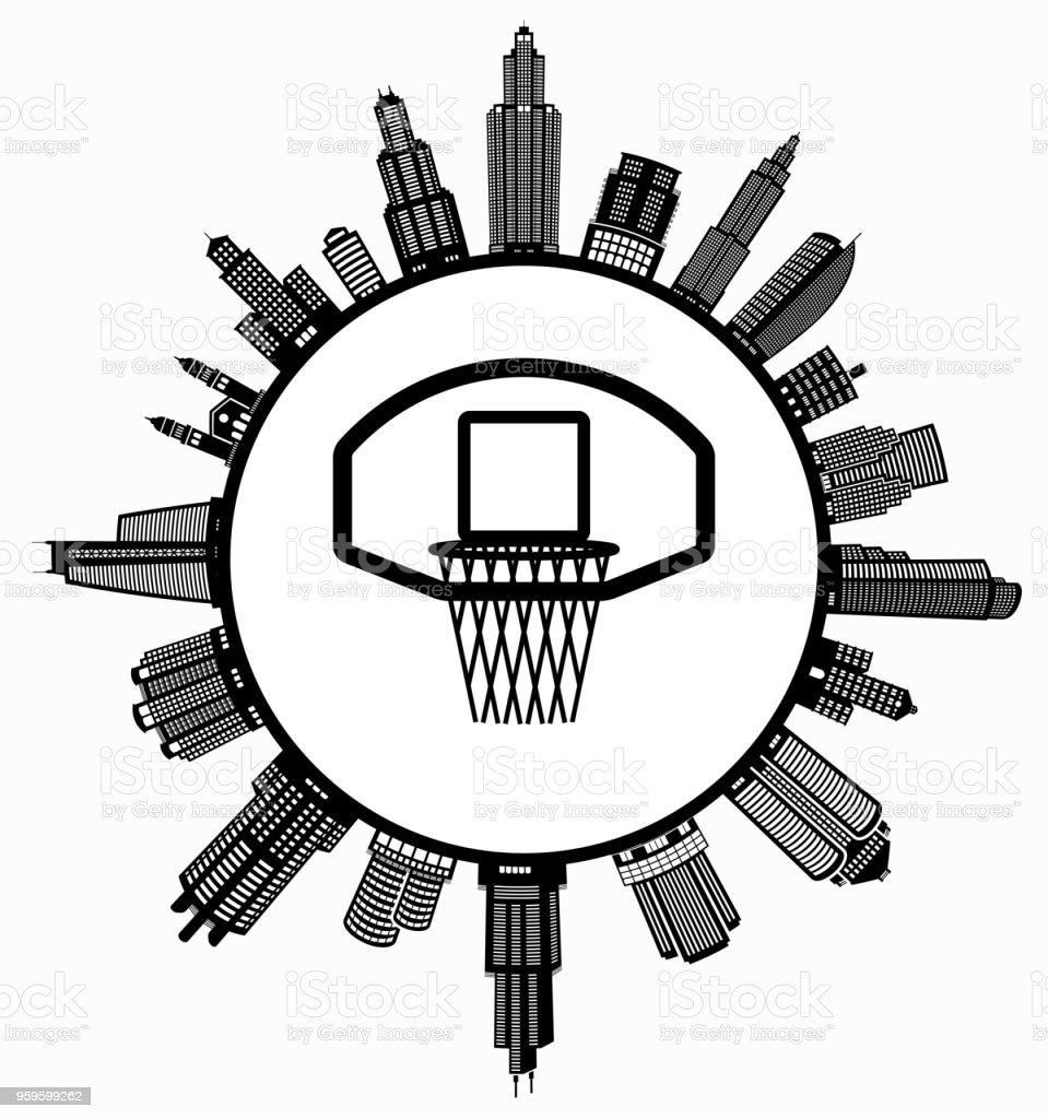 Basketball Hoop On Modern Cityscape Skyline Background Stock Vector Diagram Royalty Free