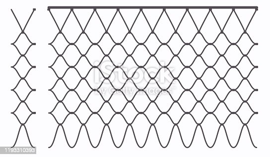 Basketball hoop ring outline net seamless pattern. Grid web links with garters. Abstract vector illustration. Metal chain texture