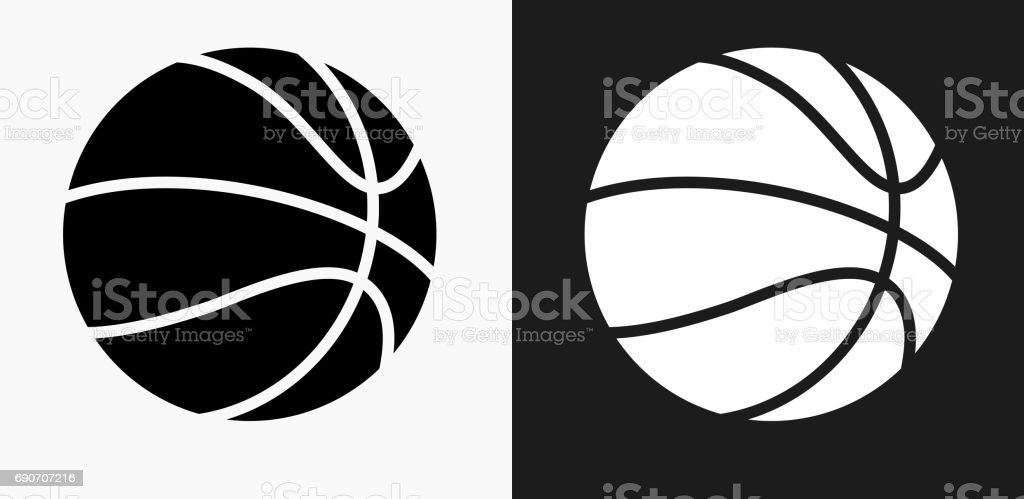 Basketball Icon on Black and White Vector Backgrounds vector art illustration