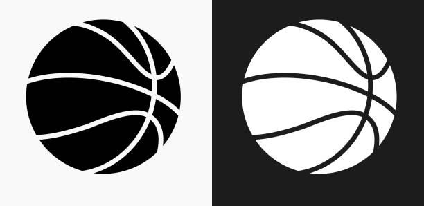 basketball icon on black and white vector backgrounds - basketball stock illustrations