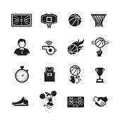 Basketball icon  Set of 16 editable filled, Simple clearly defined shapes in one color, Vector Illustration