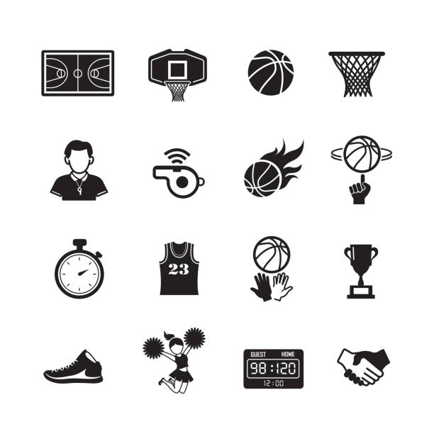 Basketball icon set Basketball icon  Set of 16 editable filled, Simple clearly defined shapes in one color, Vector Illustration basketball hoop stock illustrations