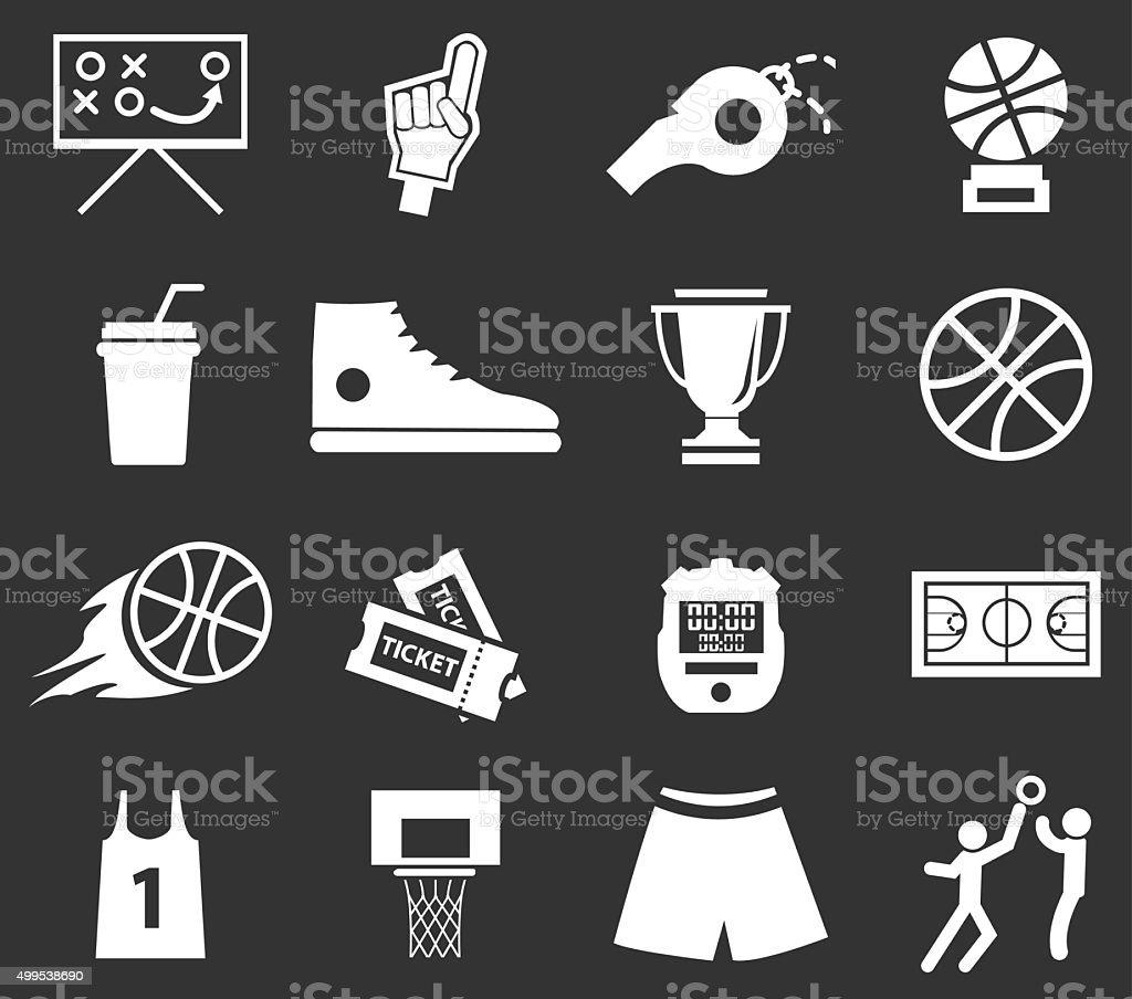 Basketball icon set vector art illustration