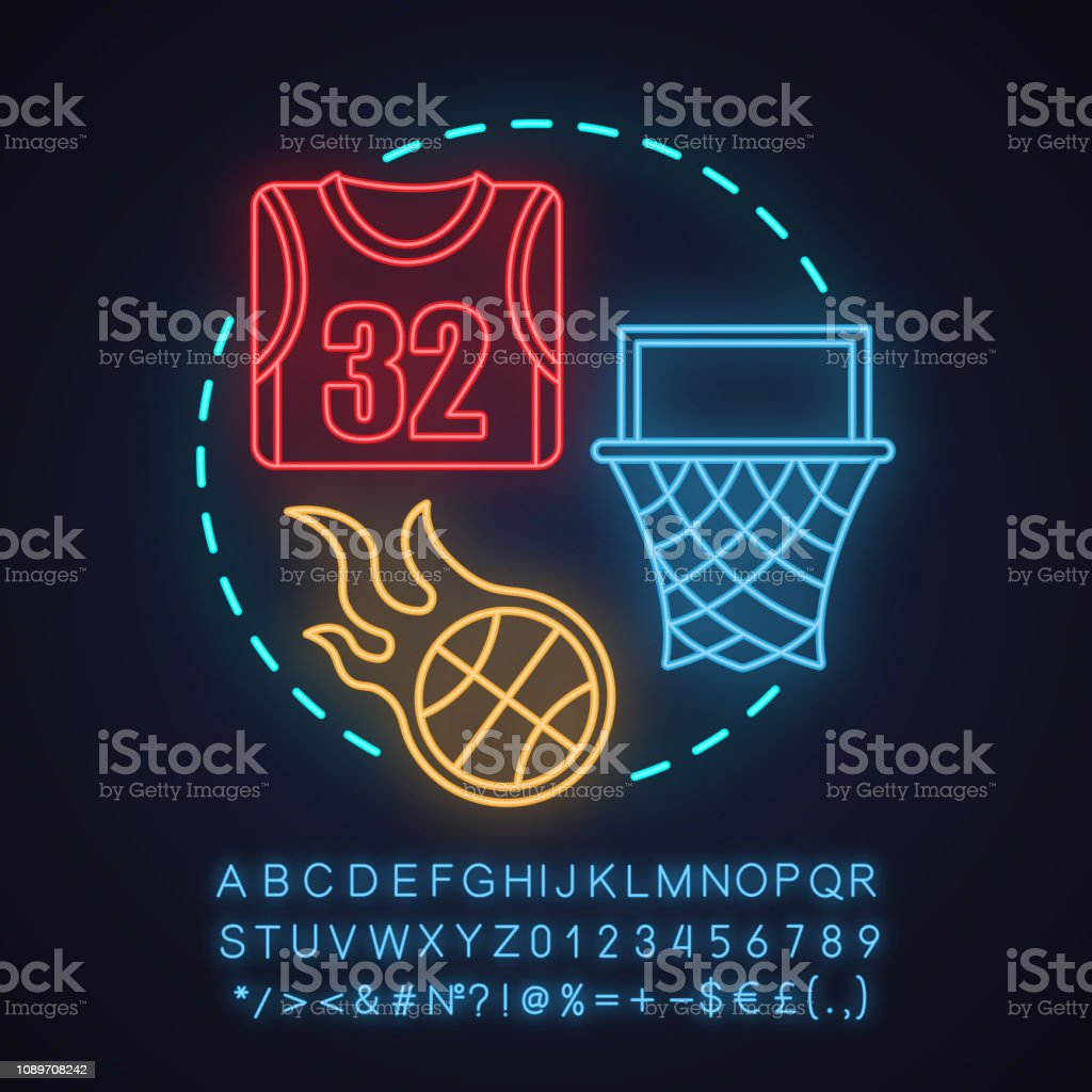 Basketball neon light concept icon. Glowing sign with alphabet,...
