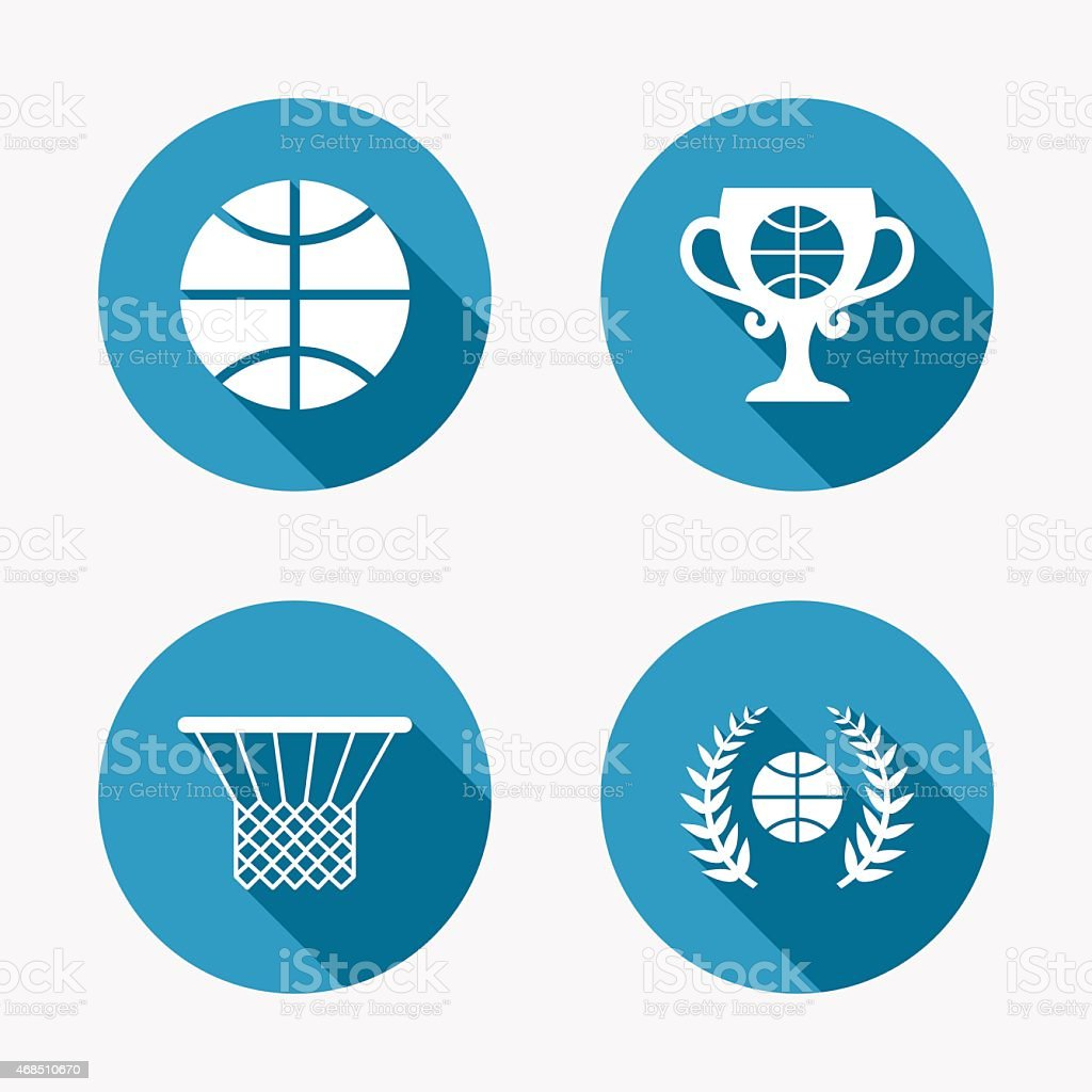 Basketball sport icons. Ball with basket and award cup signs. Laurel...