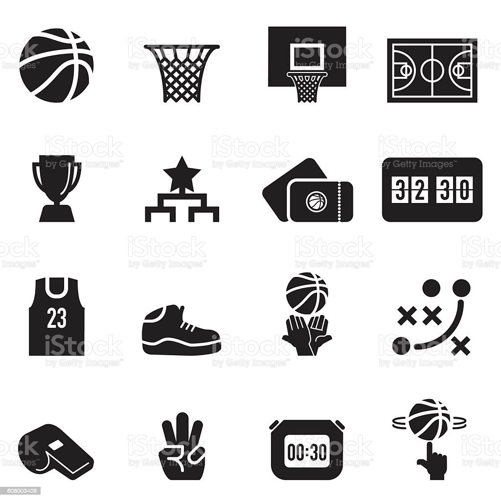 Basketball Icons [Black Edition] vector art illustration