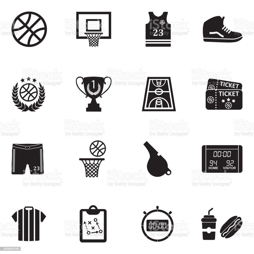 Basketball Icons. Black Flat Design. Vector Illustration. vector art illustration