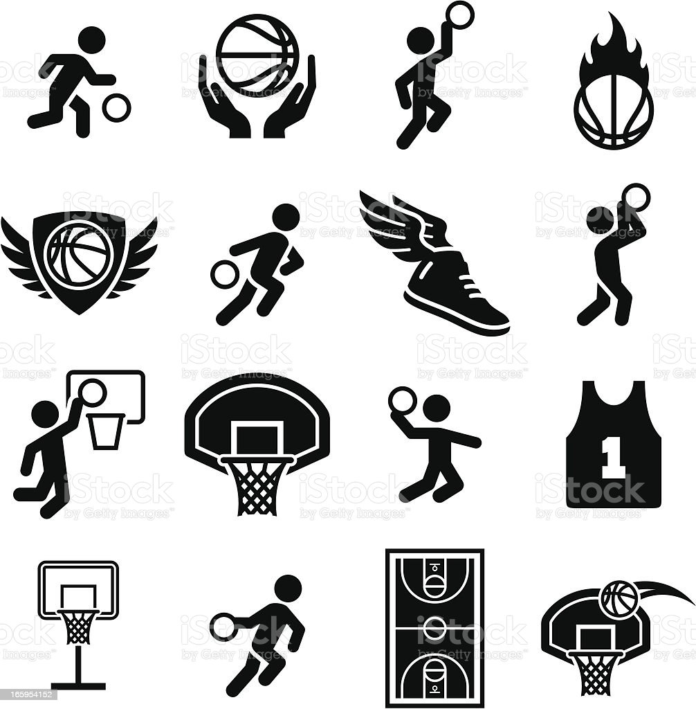 Basketball Icons - Black Series vector art illustration