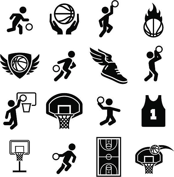 basketball icons - black series - animal limb stock illustrations
